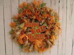 Fall Y'all Burlap Deco Mesh Wreath
