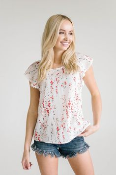Simple, sweet, and seriously adorable. The detail on this blouse makes it an easy top todress up or down.  Model is 5'8 and wearing a size small 100% Polyeste