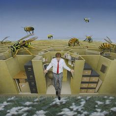 Blake Flynn , 'Leaving the Hyve' - Oil on board. #Bienen www.apidaecandles.de