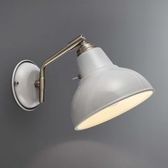 Stylishly designed with an adjustable head, this single wall light features a dome shaped shade with a glossy painted finish in a dove grey colourway and is operated by a toggle switch. Wall Mounted Lights Bedroom, Bedside Wall Lights, Bedside Lighting, Bedroom Lamps, Bedroom Lighting, Master Bedroom, Bedroom Wall, Bedroom Ideas, Bedroom Decor