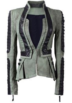 Denim PU Leather Contrast Blazer - Green @LookBookStore