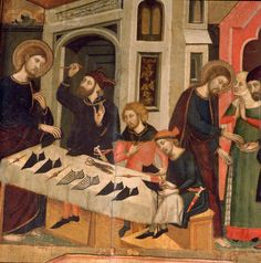 Fragment of Saint Mark altarpiece, by Arnau Bassa, at Manresa Seu (church of Saint Mary): saint Anian of Alexandria repairing Mark's shoes.1346