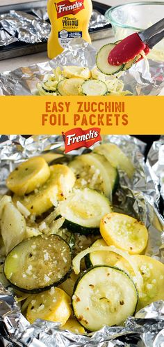 Zucchini in Foil Packets: your summer veggie side dish prep a whole lot easier. Simply toss zucchini, squash, and onions in Frenchs Yellow Mustard, butter and Parmesan for a tangy twist on grilled foil packets. Wrap em up and grill till theyre tender Veggie Side Dishes, Vegetable Dishes, Side Dish Recipes, Vegetable Recipes, Food Dishes, Low Carb Recipes, Vegetarian Recipes, Healthy Recipes, Turkey Recipes