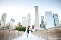 city wedding in the midst of chicago's skyline