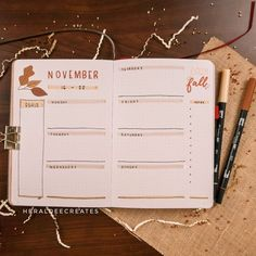 Here is my simple fall bullet journal set-up for November. This month's theme is all about the classic fall leaves and it's super easy to do! Bullet Journal Weekly Spread Layout, Bullet Journal Set Up, Bullet Journal Ideas Pages, Bullet Journal Inspiration, Bullet Journals, Journal Quotes, Journal Pages, Sticker Shop, Autumn Leaves