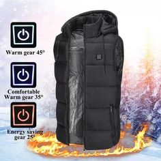 Electric Heated Jacket Vest Winter Warm Hooded Jacket Unisex Thermal 2019 New Colors USB Heating Electric Heated Vest Clothing Temp Control Waistcoat Body Warmer, Neck Warmer, Heated Jacket, Warm Outfits, Vest Jacket, Cool Things To Buy, Monitor, Winter Jackets, Unisex