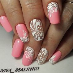 nail art pink and white scrolls