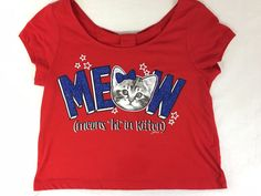 """JUSTICE Red White Blue MEOW Means """"Hi"""" in kitten Shirt Size 8 Short Sleeves…"""