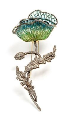 Pave Diamond And Plique-a-jour Enamel Brooch - Picmia