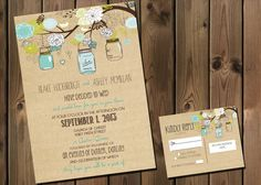rustic Wedding Invitation Package with Flowers and Jars, casual, Digital File Wedding Package