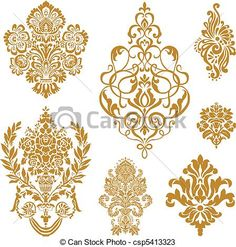 vettore, oro, damasco, Ornamento, set - csp5413323