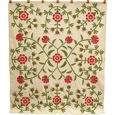 Dated Signed 1853 Pomegranate & Vine or Missouri Rose quilt. From Fourth Corner, surname possibly Orndorff, found in MO