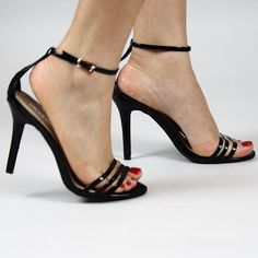 Lyla Black Barely There Ankle Strap Open Toe Stiletto High Heels