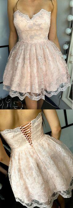 Sweetheart Homecoming Dress,A-line Homecoming Dresses,Lace Homecoming Dress,Pink Homecoming Dresses,Short Prom Dresses,Sweet Party Dresses DS328 #blushpink #lace #short #sweet #homecoming #graduation #okdresses