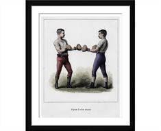 Boxing print hand coloured from Victorian Engraving The Noble Art Vintage print Boxing art Man Cave Wall Art Best gift Idea for Fathers Day