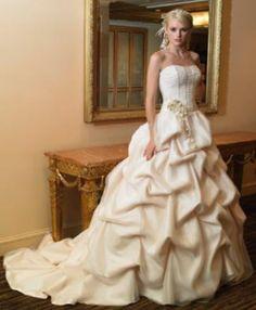 Ivory Wedding Dress #wedding-pinned by wedding decorations specialists http://dazzlemeelegant.com