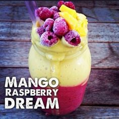 Mango Raspberry Dream  Ingredients: 4 frozen bananas 2 cups coconut water 1 cup frozen raspberries 1 mango  Instructions: Blend together 2 of the frozen bananas, 1 cup of the coconut water & the raspberries until smooth. Pour into large mason jar.  Blend together remaining ingredients until smooth and pour over.  Top with extra raspberries & mango  Credit: @Raw Till Four