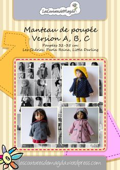 patron manteau Magda (payant 6 euros) et tuto sur le site Doll Sewing Patterns, Barbie Patterns, Sewing Dolls, Doll Clothes Patterns, Clothing Patterns, Sewing Clothes Women, Girl Doll Clothes, Sewing Doll Clothes, Little Doll