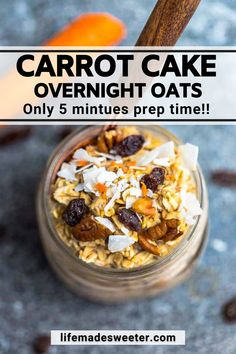 These Carrot Cake Overnight Oats are made with hearty rolled oats, shredded carrots, coconut and cozy warm spices. It's a healthy and easy make ahead breakfast that your entire family will love. Gluten free, vegan and requires only 5 minutes of prep time! Healthy Make Ahead Breakfast, Breakfast Snacks, Breakfast Recipes, Dessert Recipes, Good Healthy Recipes, Vegetarian Recipes, My Favorite Food, Favorite Recipes, Coconut Recipes
