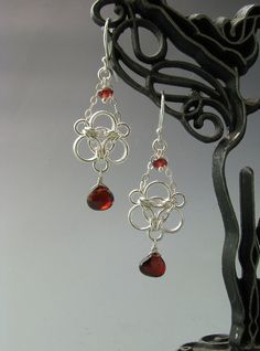 Aura Weave Chainmaille Earrings with Garnet