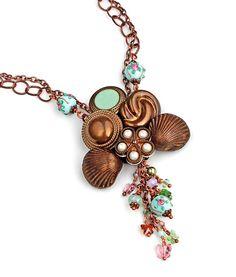 Vintage Button Lampwork Bead Necklace Swarovski Crystals Pearls Butterflies Romantic Victorian OOAK