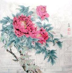 Chinese Peony Painting,69cm x 69cm,2389011-x