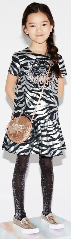 39b5cdd4db KENZO KIDS Girls EXCLUSIVE EDITION Silver Tiger Print Party Girl Dress.  Shop online.