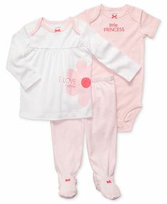 Carter's Baby Girls' 3-Piece Ruffle Bodysuit, Top & Footed Pants Set