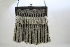 Vintage 1920s BeadKnit Flapper Purse in Black and White.  So graphic!