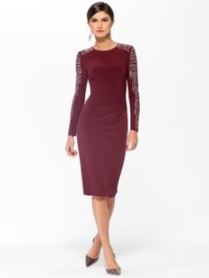 COCKTAIL DRESSES   Bordeaux Studded Sleeve Sheath Dress   Caché