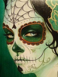 chicana dia de los muertos, mexican skull, painting