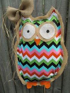 Owl Burlap Door Hanger Bright Chevron Mixed Media Chevron Pattern