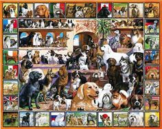 White Mountain Jigsaw Puzzle The World of Dogs 1000 Piece   http://stores.ebay.com/beachcats-bargains  beachcats bargains