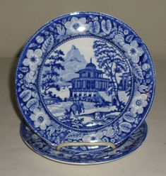 Pristine Pair C1830 Staffordshire Blue Transferware Plates India Elephant Temple