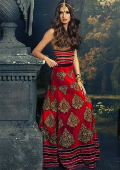 Red Western Indian Lengha