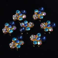 Newest 3D Nail Art Nail Decorations Special Golden Green Blue Rhinestone Nail Decorations + A Unique Ring free Gift #ACT2-16