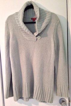 Ladies Medium Mint Green Long Sleeve Collared Soft Sweater $15@Ebay