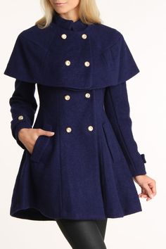 {Bebe Removable Capelet Coat} adorable <3_<3