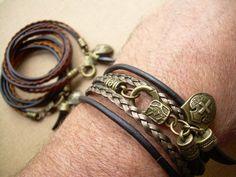 Triple Wrap Double Strand Leather Bracelet by UrbanSurvivalGearUSA, $24.99