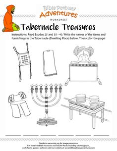 Enjoy our free Bible worksheet: Tabernacle Treasures. Fun for kids to print and learn more about the Bible. Sunday School Activities, Bible Activities, Sunday School Lessons, Sunday School Crafts, Kids Church Lessons, Bible Lessons For Kids, Bible Study For Kids, Kids Bible, The Tabernacle