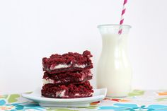 Cream Cheese Filled Red Velvet Cake Bars - The Kitchen Magpie