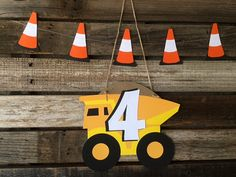 Custom Construction Party Paper Sign Dumptruck by BlueOakCreations