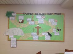 Lent bulletin board that tells the story of Jesus' last week before he was crucified.
