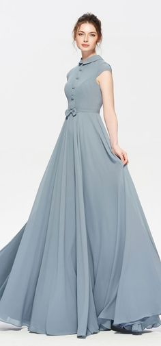 Modest dusty blue bridesmaid dress cap sleeves elegant long bridesmaid dresses turndown collar We sh Trendy Dresses, Elegant Dresses, Beautiful Dresses, Nice Dresses, Fashion Dresses, Modest Long Dresses, Modest Clothing, Gorgeous Dress, Woman Clothing