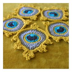 Peacock Feather Motif Golden Yellow Crochet by TheCurioCraftsRoom no directions so wing it. Crochet Square Blanket, Crochet Quilt, Crochet Cross, Crochet Art, Crochet Squares, Love Crochet, Crochet Motif, Irish Crochet, Crochet Stitches