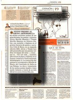 Canarias 7 / 20 Mayo 2008 OPINIÓN Canarias 7 / 20 Mayo 2008, Pg. 19  * NUEVO PREMIO AL GRUPO ARTEMORILLA  URL http://www.artemorilla.com/index.php?ci=311