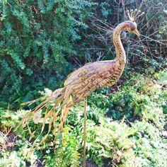 Golden Bronze Coloured Vintage Finish Metal Peacock On Stake Garden Ornament