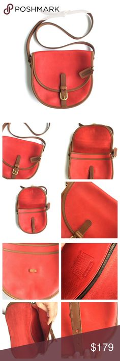 Vintage coach red leather saddle bag Vintage and in amazing condition. 100% leather and 100% authentic. Minor patina/scratches/scuffs photos provide the best clue as to those things. •no trades•  Coach Bags