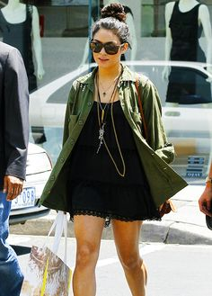 Vanessa Hudgens: mini dress paired with a cargo army jacket