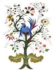 Trajes de Portugal: O bordado de Castelo Branco – Beira Baixa Jacobean Embroidery, Lunar New, Throughout The World, Tree Of Life, Portuguese, Tinkerbell, Rooster, Applique, Textiles